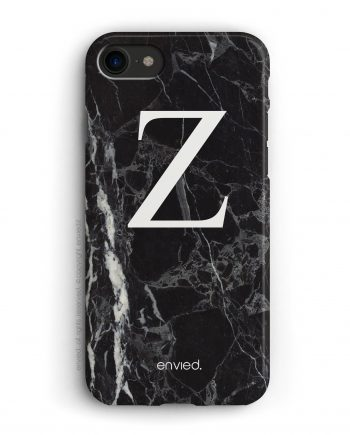 cover per iPhone con iniziale grande su marmo scuro nero