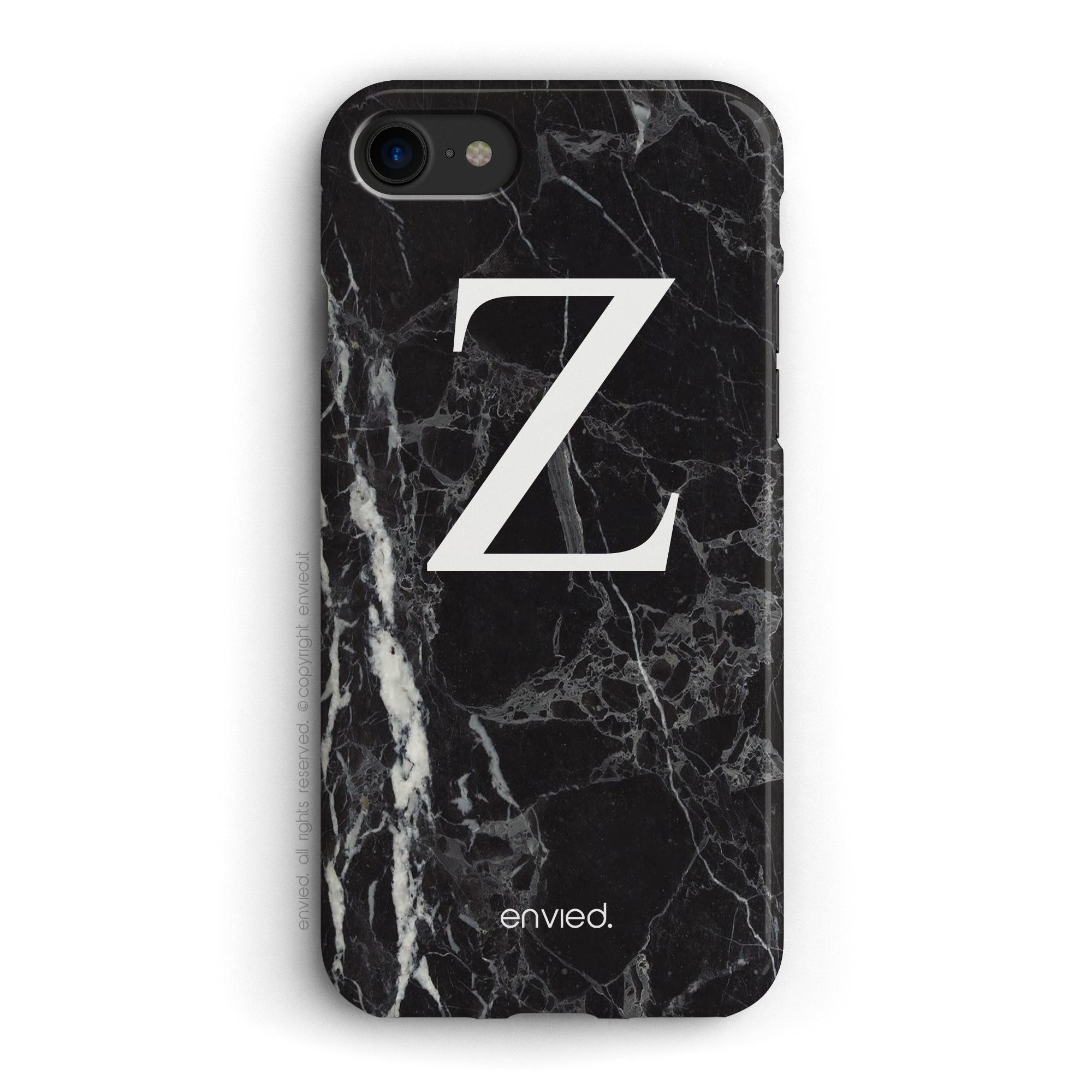 cover per iPhone con iniziale grande su marmo scuro nero