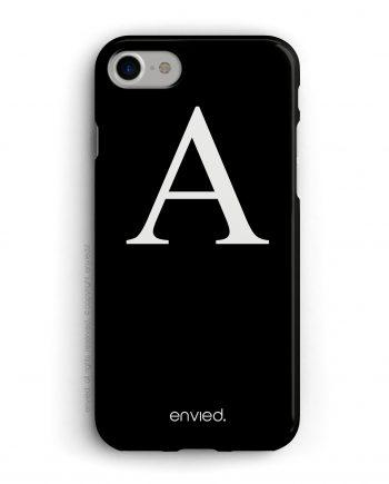 cover per iPhone con iniziale grande alta e sfondo nero