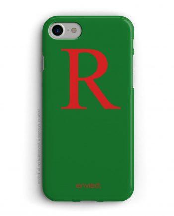 cover per iPhone con iniziale grande rossa e sfondo verde
