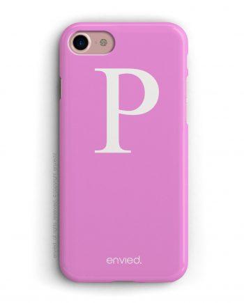 cover per iPhone con iniziale grande bianca e sfondo rosa