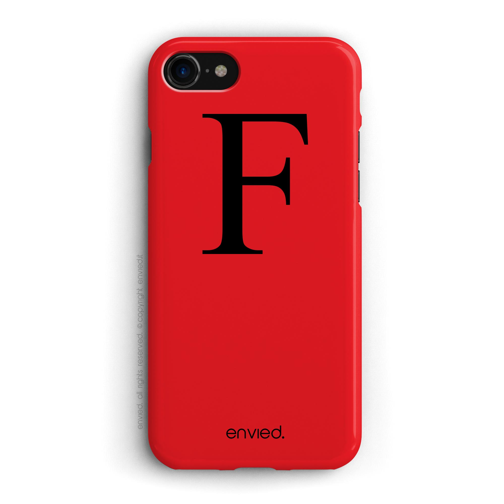 cover per iPhone con iniziale grande nera e sfondo rosso