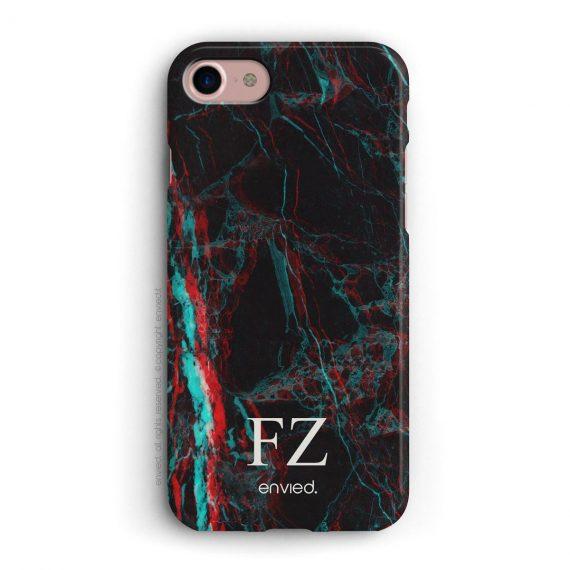 cover per iPhone in marmo nero 3D con iniziali basse