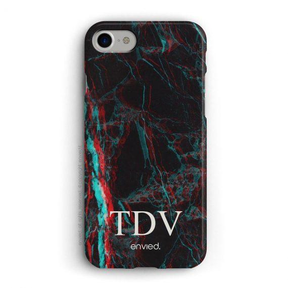 cover per iPhone in marmo nero 3D con iniziali basse a tre lettere