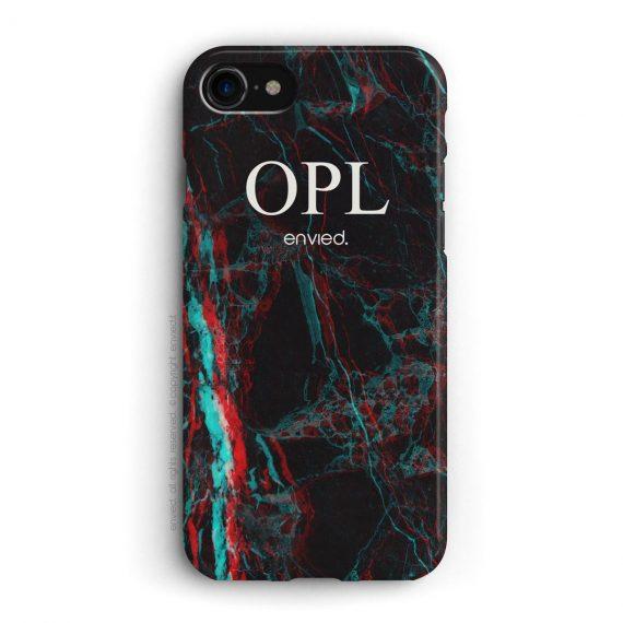 cover per iPhone in marmo nero 3D con iniziali alte a tre lettere