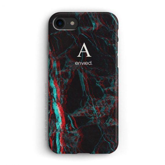 cover per iPhone in marmo nero 3D con iniziali alte a una lettera