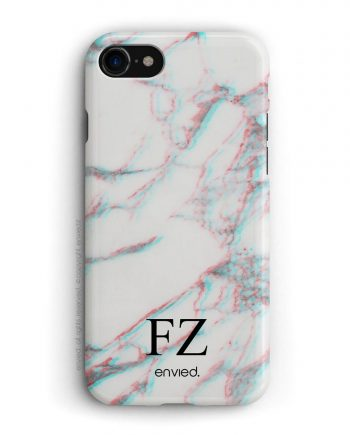 cover per iPhone in marmo bianco 3D con iniziali basse