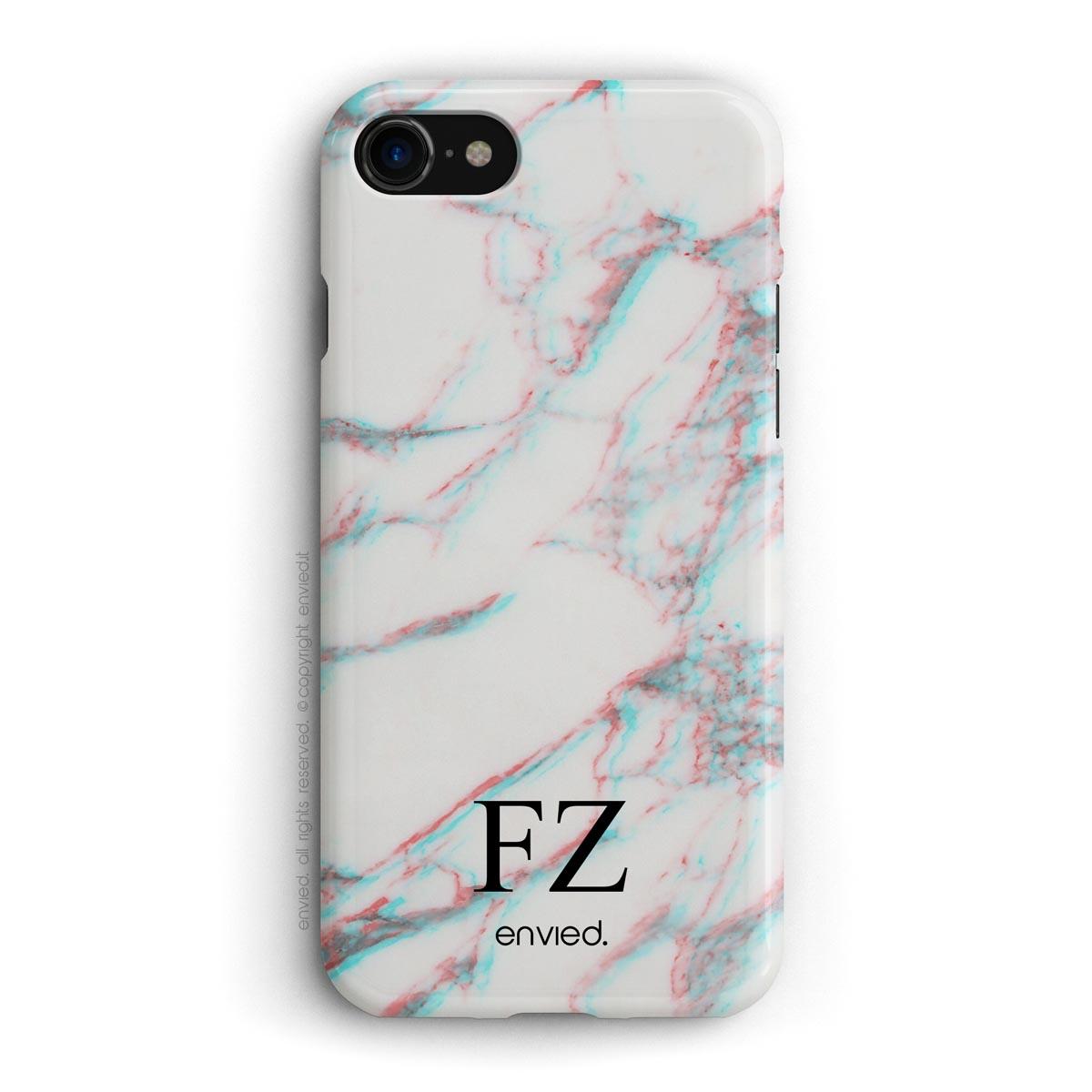 cover per iPhone in marmo bianco 3D con iniziali basse