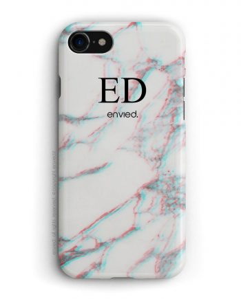 cover per iPhone in marmo bianco 3D con iniziali alte