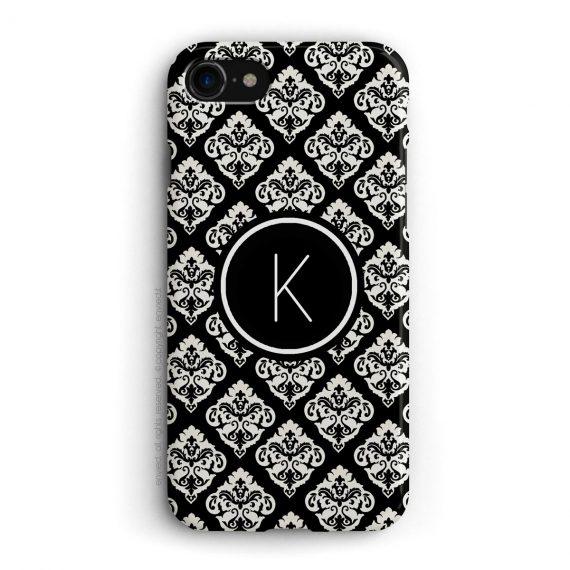 cover per iPhone con trama damascata nera e bianca e iniziali