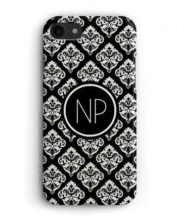 cover per iPhone con trama damascata nera e bianca e iniziali a due lettere