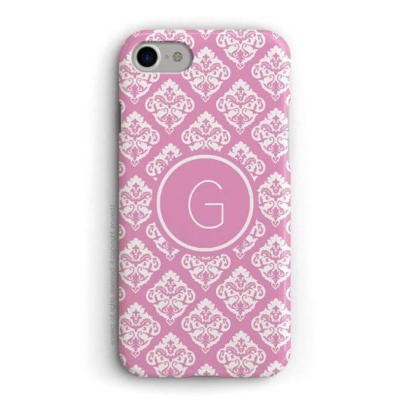 cover per iPhone con trama damascata rosa e bianca e iniziali