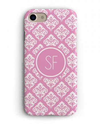 cover per iPhone con trama damascata rosa e bianca e iniziali a due lettere