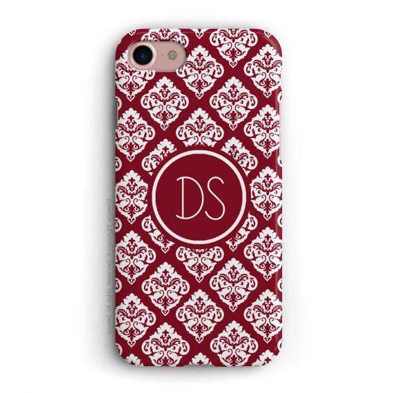 cover per iPhone con trama damascata rossa e bianca e iniziali a due lettere