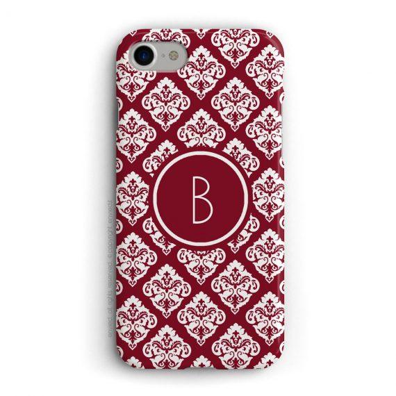 cover per iPhone con trama damascata rossa e bianca e iniziali