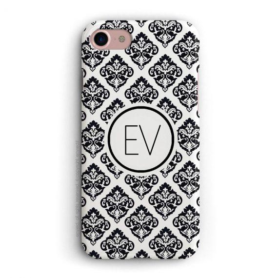 cover per iPhone con trama damascata nera e bianca e iniziali a due lettere in un cerchio bianco