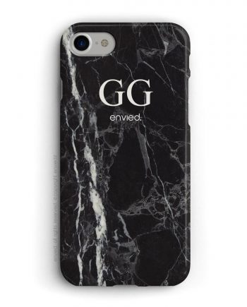 cover per iPhone in marmo nero con iniziali alte