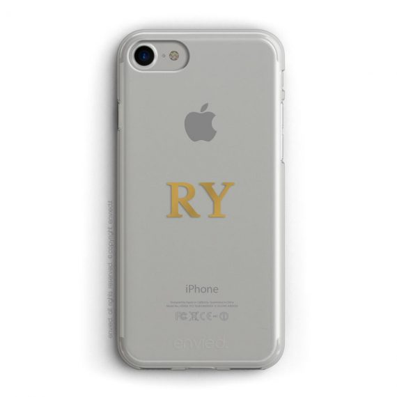 cover per iPhone argento con iniziali centrali color oro