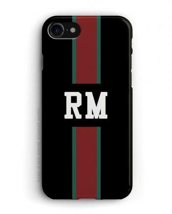 cover con linea centrale di colore verde e rosso su sfondo nero e iniziali