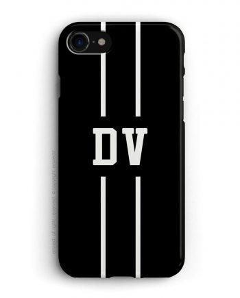 cover con linea centrale di colore bianco e nero su sfondo nero e iniziali