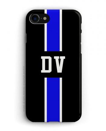 cover con linea centrale di colore blu e bianco su sfondo nero e iniziali