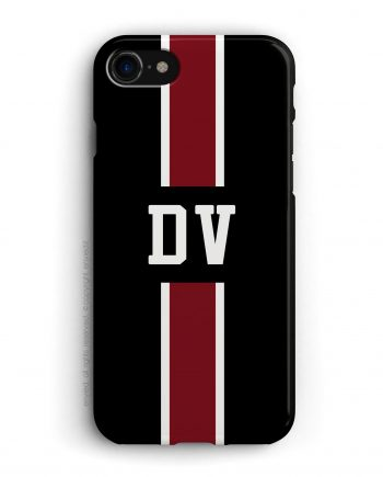 cover con linea centrale di colore bianco e rosso scuro su sfondo nero e iniziali
