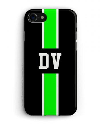 cover con linea centrale di colore bianco e verde su sfondo nero e iniziali