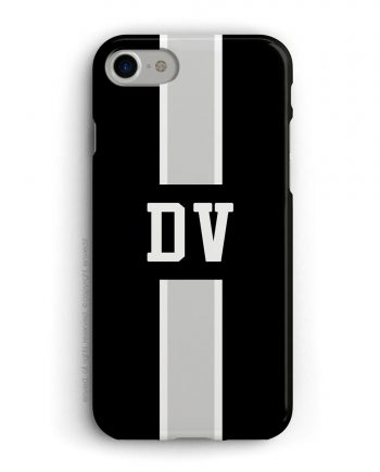 cover con linea centrale di colore bianco e grigio su sfondo nero e iniziali
