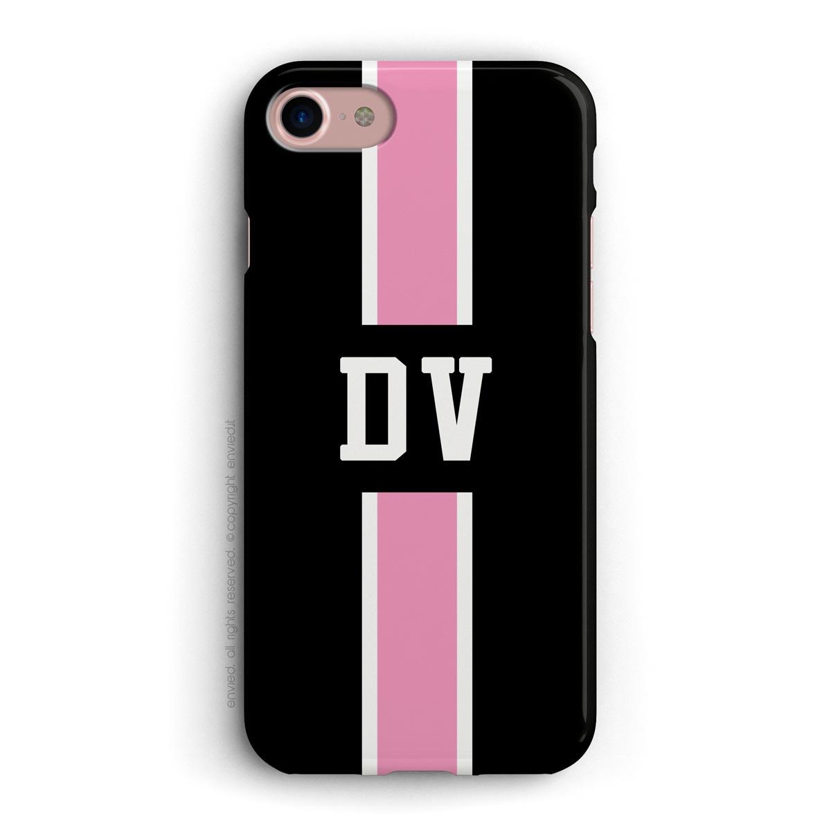 cover con linea centrale di colore bianco e rosa su sfondo nero e iniziali