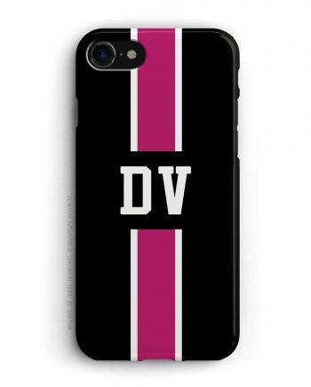 cover con linea centrale di colore bianco e rosa scuro su sfondo nero e iniziali