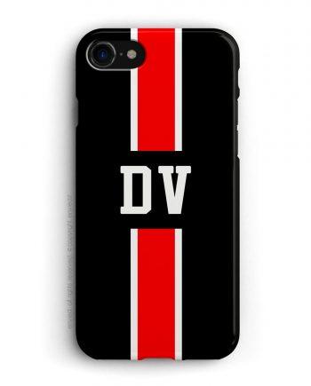 cover con linea centrale di colore bianco e rosso su sfondo nero e iniziali