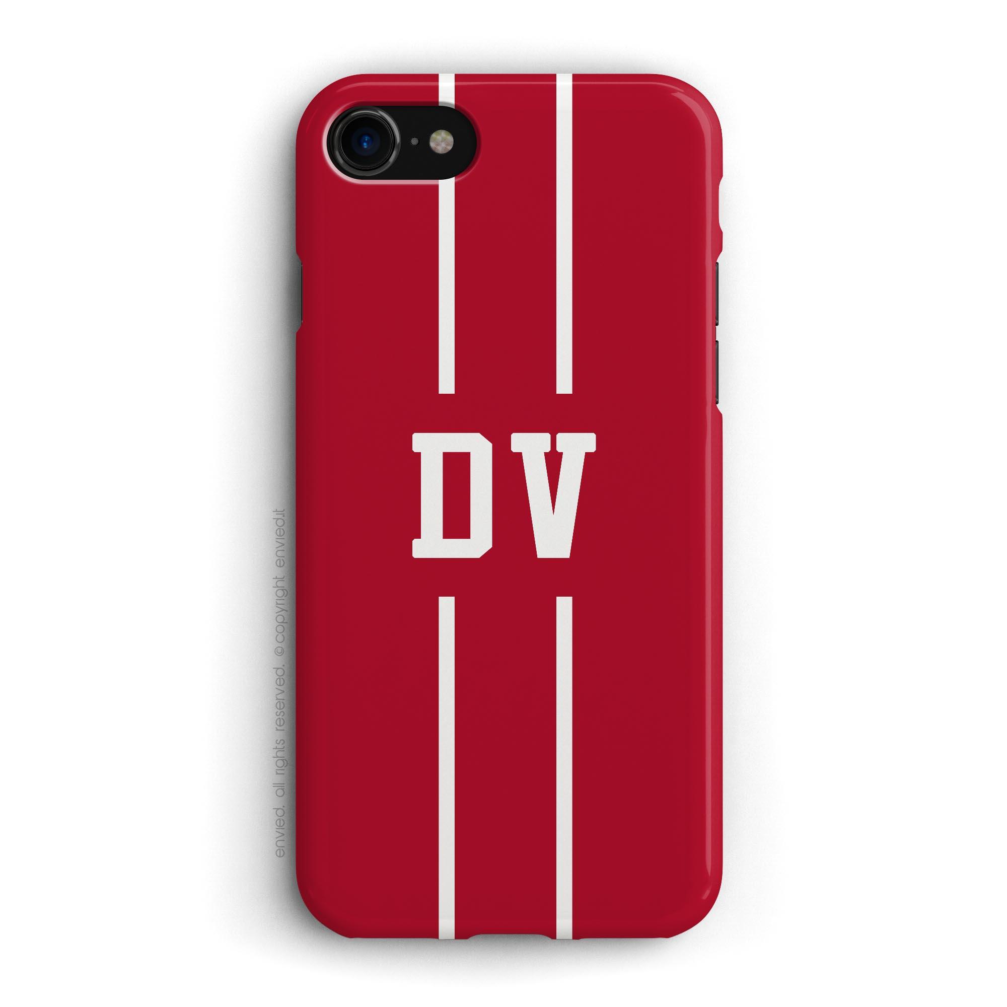 cover iniziali linea bianca sfondo rosso natale iPhone envied