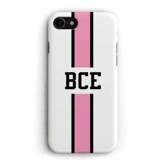 cover con linea centrale di colore nero e rosa su sfondo bianco e iniziali a tre lettere.