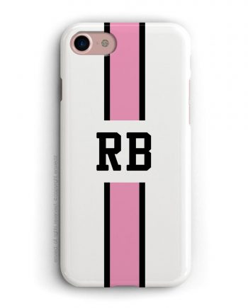 cover con linea centrale di colore nero e rosa su sfondo bianco e iniziali