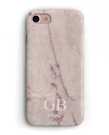 cover per iPhone in marmo rosa con iniziali a due lettere