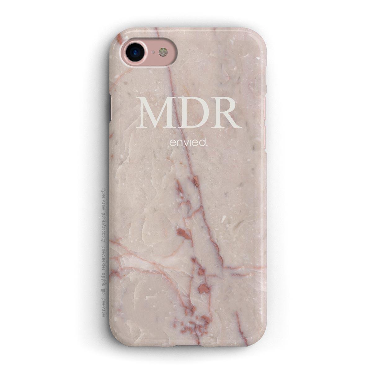 cover per iPhone in marmo rosa con iniziali a tre lettere alte