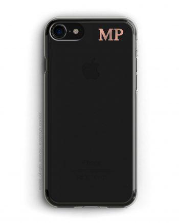 cover per iPhone nero con iniziali piccole in alto a destra in oro rosa