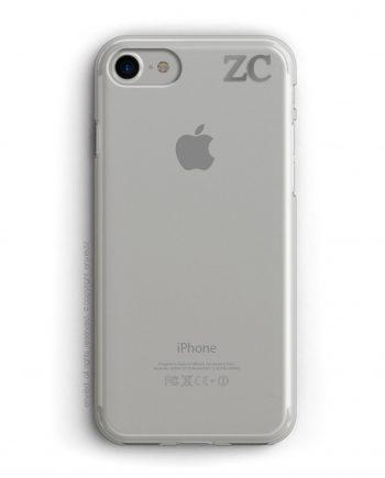 cover per iPhone con iniziali piccole in alto a destra in argento
