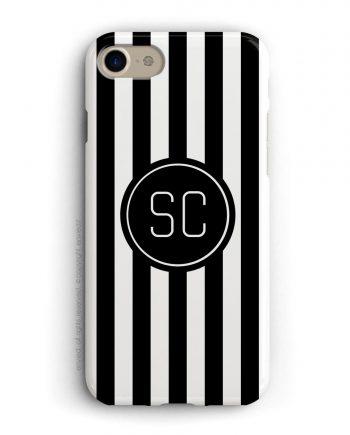 cover per iPhone a righe bianche e nere con iniziali in un cerchio