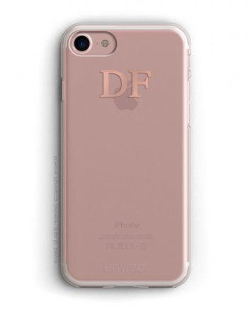 cover per iPhone rosa con iniziali alte color oro rosa