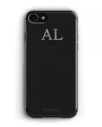 cover per iPhone jetblack con iniziali alte color argento