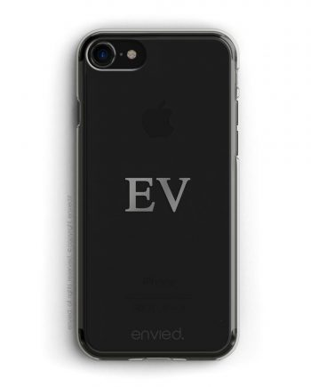 cover per iPhone jetblack con iniziali centrali color argento