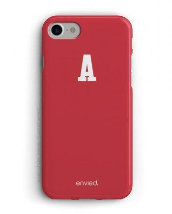 cover per iPhone rossa con iniziali alte