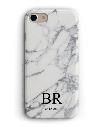 cover per iPhone in marmo bianco con iniziali basse