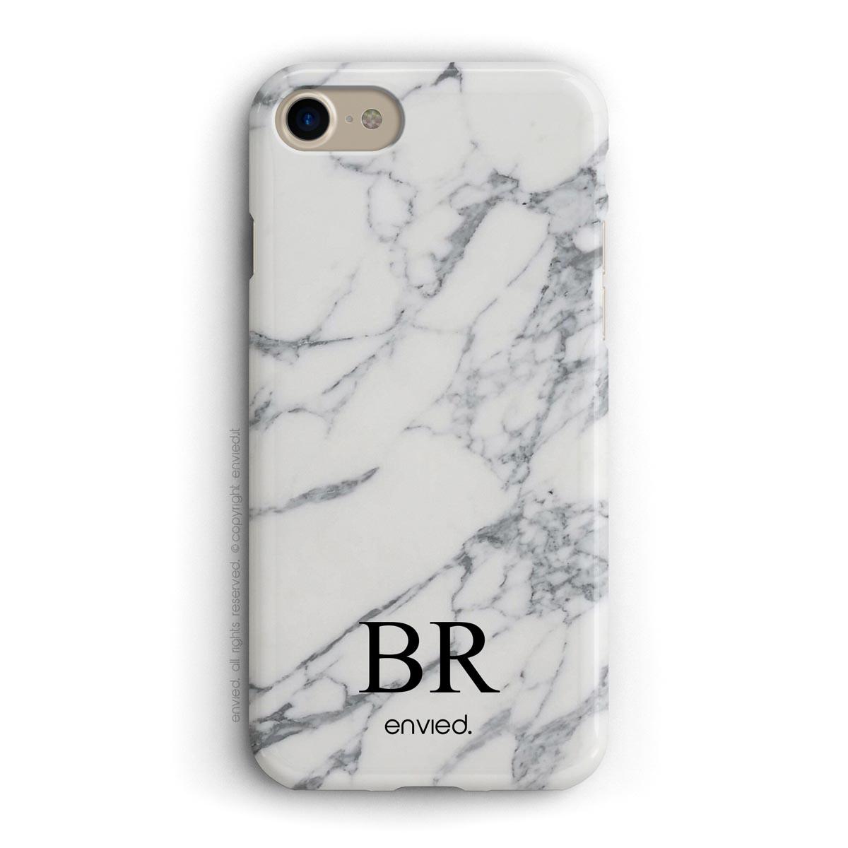 cover per iPhone in marmo bianco con iniziali basse