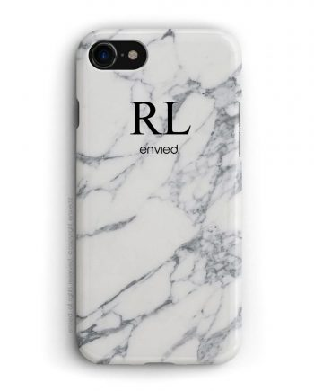 cover per iPhone in marmo bianco con iniziali alte