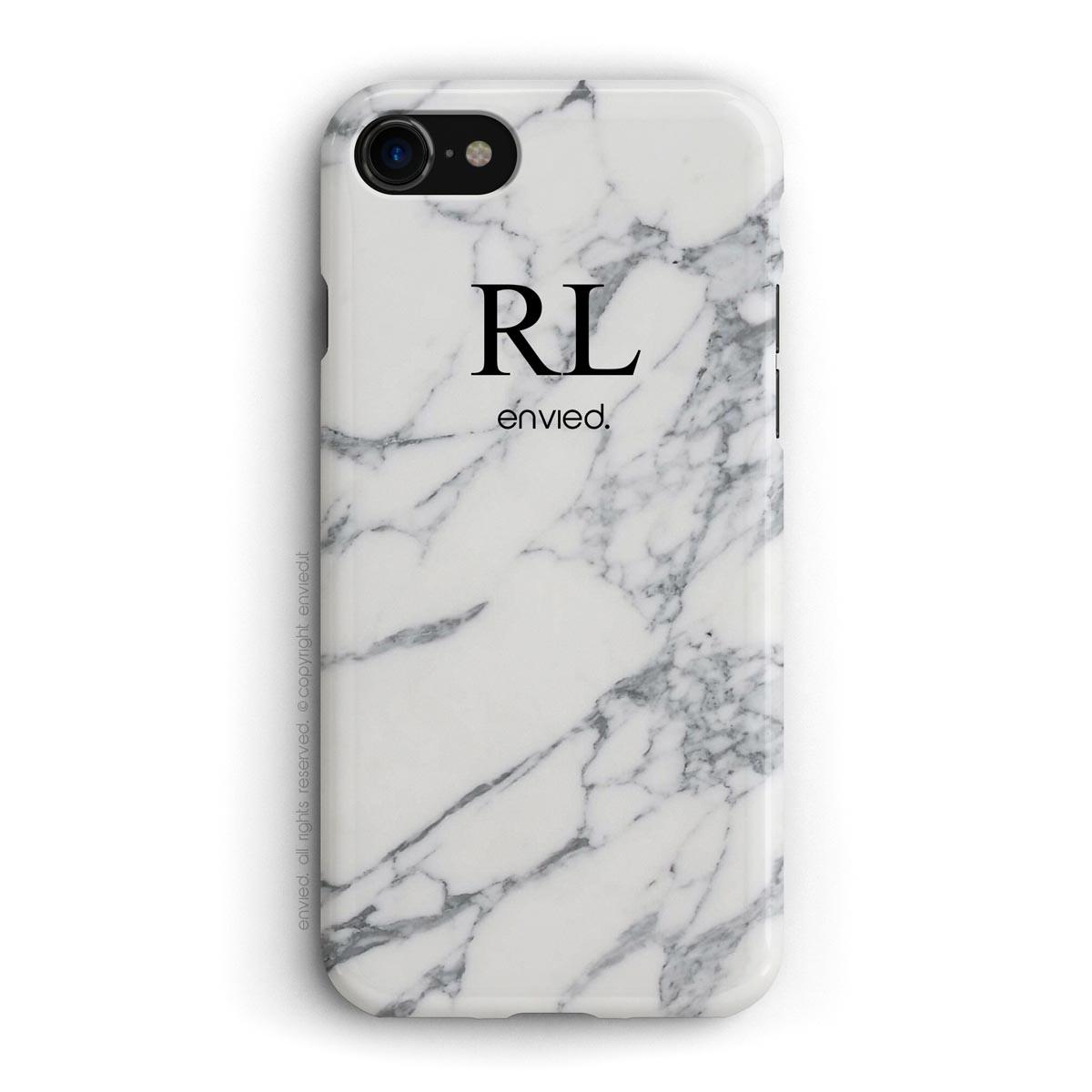 cover per iPhone in marmo bianco con iniziali alte