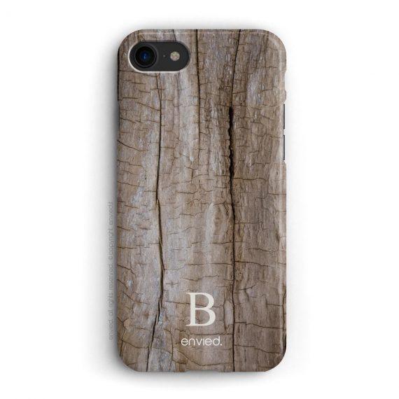 cover per iPhone con trama in legno e iniziali basse