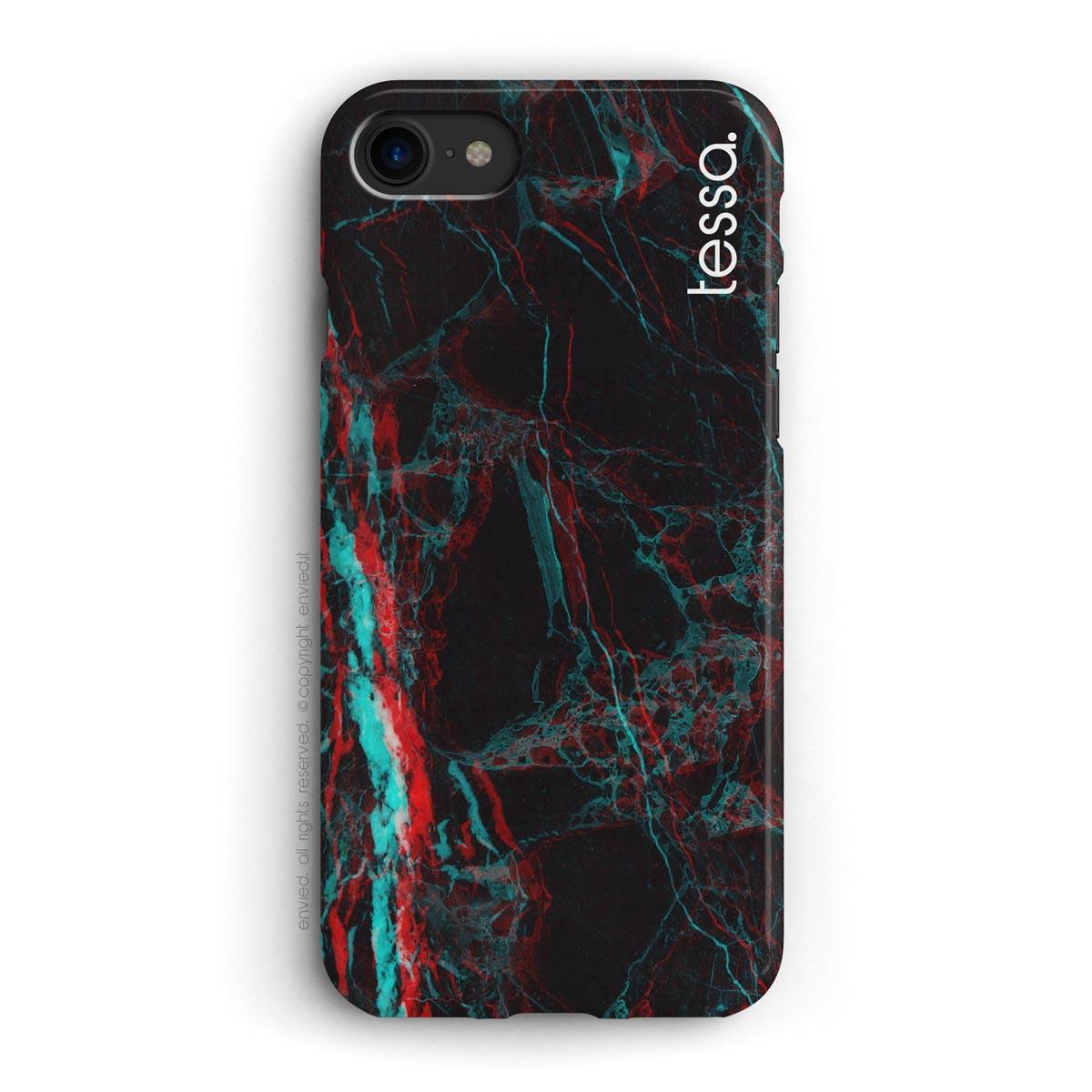 cover per iPhone in marmo nero 3D con nome