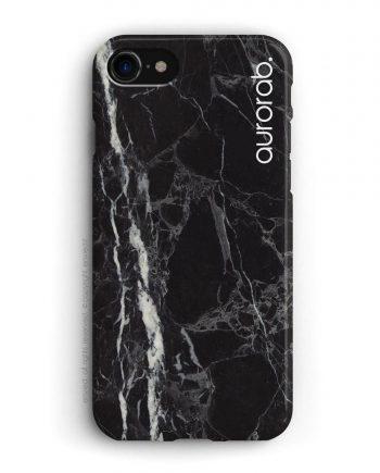 cover per iPhone in marmo nero con nome alto laterale